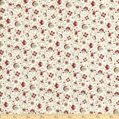 English Diary Calico Floral Cotton Fabric - Red