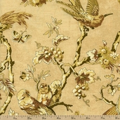 English Lane Birds Cotton Fabric - Natural
