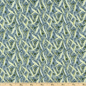 English Lane Grass Cotton Fabric - Blue - CLEARANCE