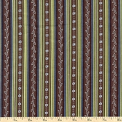English Lane Stripe Cotton Fabric - Green