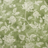 Essential 110 inch Backing Jacobean Vine Cotton Fabric - Green