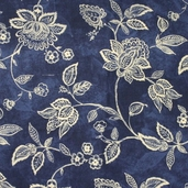 Essential 110 inch Backing Jacobean Vine Cotton Fabric - Navy