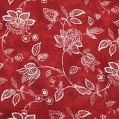 Essential 110 inch Backing Jacobean Vine Cotton Fabric - Red