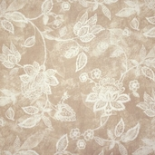 Essential 110 inch Backing Jacobean Vine Cotton Fabric - Taupe