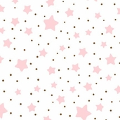 Essential Flannel Stars and Dots - White and Pink