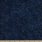 Essentials Flannel Scroll Cotton Fabric - Navy