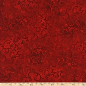 Essentials Scroll Cotton Fabric - Deep Red