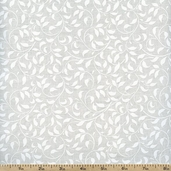 Essentials White on White Climbing Vine Cotton Fabric - White