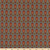 Essex Flannel Fabric Floral Rows - Blue