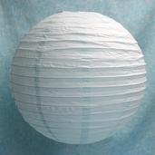 Even Ribbing Round Paper Lanterns 12 in - White