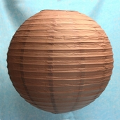 Even Ribbing Round Paper Lanterns 24 inch - Brown