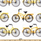 Everyday Favorites Yellow Bicycle Cotton Fabric - White AMK-13560-5
