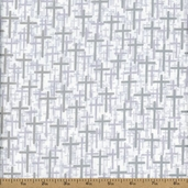 Faith, Hope, & Love Crosses Cotton Fabric - Metallic Silver