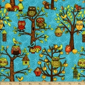 Fall Fun Cotton Fabric - Blue Q.1604-80690-425W