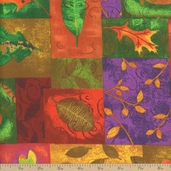 Falling Leaves Autumn Patchwork Cotton Fabric - Orange