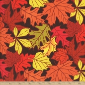 Falling Leaves Autumn Toss Cotton Fabric - Orange