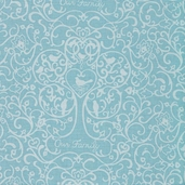 Family Tree Allover Scroll Cotton Fabric - Blue - Clearance