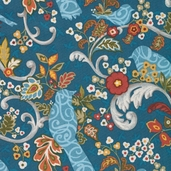 Family Tree Lead Birds and Scrolls Cotton Fabric - Blue