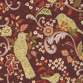 Family Tree Lead Birds and Scrolls Cotton Fabric - Brown - CLEARANCE
