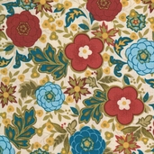 Family Tree Medium Floral Cotton Fabric - Blue