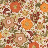 Family Tree Medium Floral Cotton Fabric - Orange - CLEARANCE