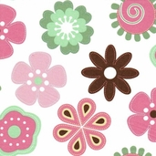 Fantasy Wings Cotton Fabric - Flower Toss