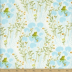 Far Far Away Frogs Cotton Fabric - Blue