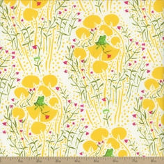 Far Far Away Frogs Cotton Fabric - Yellow