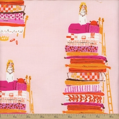Far Far Away Princess And The Pea Cotton Fabric - Pink