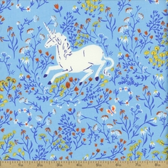 Far Far Away Unicorn Cotton Fabric - Blue