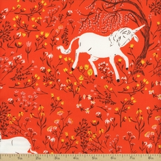 Far Far Away Unicorn Cotton Fabric - Orange