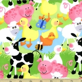 Farm Animal Flannel Cotton Fabric