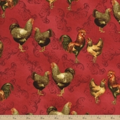 Farm Fresh Allover Chickens Cotton Fabric - Red