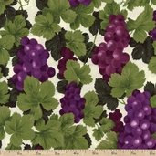 Farm Fresh Fruits and Veggies Grapes Cotton Fabric - Cream