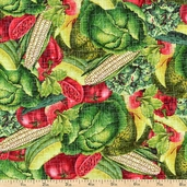 Farm Stand Packed Produce Cotton Fabric - Green