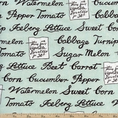 Farm Stand Produce List Cotton Fabric - Green