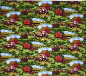 Farmall Barn Scenic Cotton Fabric - Green