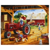 Farmall Friends Tractor Quilt Fabric Panel