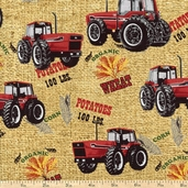 Farmall Tractor Toss Cotton Fabric - Brown