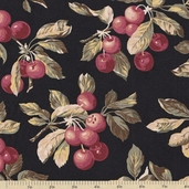 Farmer's Market Cherries Cotton Fabric - Black