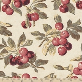 Farmer's Market Cherries Cotton Fabric - Cream