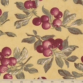 Farmer's Market Cherries Cotton Fabric - Maize