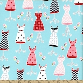 Fashion Plate Dresses Cotton Fabric - Blue