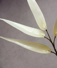Faux Crystal Glass Cream White Bamboo (38 inch ) - Clearance