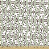 Feather N Stitch Cotton Fabric - Scroll Hearts Olive