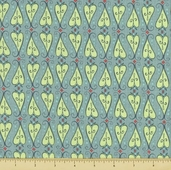 Feather N Stitch Cotton Fabric - Scroll Hearts - Teal