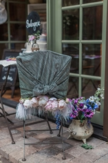 Feathered Floral Bistro Chair Cover
