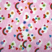 Feeling Groovy Clouds Flannel - Pink