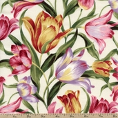 Felicity Floral Cotton Fabric - Ivory 32601-11