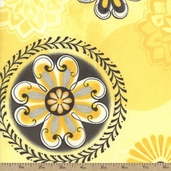 Felicity Floral Medallions Cotton Fabric - Yellow